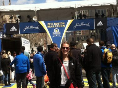 At the finish line two days before the Boston Marathon in 2013