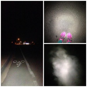 I did this workout at 5 am along this straight road. As you can see, it was very dark. Also, in the lower right corner is my breath-not a ghost. It was very cold out.